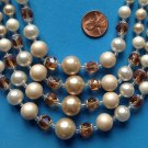 ELEGANT 4 STRAND CREAMS WHITE AMBER AND CLEAR BEADS NECKLACE. BEAUTIFUL !!