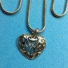 "PRETTY CUT OUT HEART PENDANT NECKLACE SILVER TONE, 29"" LONG"