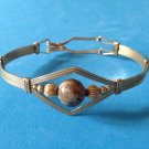 ARTIST MADE GOLD TONE MOTTLED BROWN TAN STONE CLIP ON BANGLE BRACELET. LOVELY !!