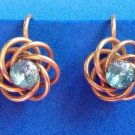 "VINTAGE GOLD FILL WITH AQUA BLUE STONE SCREW ON EARRINGS 5/8"" IN DIAMETER"