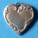 "VINTAGE ANTIQUE HEART PENDANT WITH VERY WORN ENGRAVING 1 1/2"" X 1 1/2"" TOO SWEET"