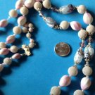 "VINTAGE FROSTED & SPOTTED SWIRL GLASS &PEARL LONG DOUBLE STRAND ""JAPAN"" NECKLACE"