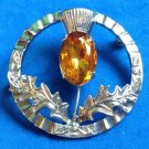 "VINTAGE SCOTTISH HEATHER ""MIZPAH"" PIN SILVER TONE TOPAZ COLORED STONE 1.5"" DIAM."