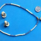 "PEARL BLUE CRYSTAL GOLD TONE 16"" NECKLACE- 1.5"" DANGLE, 1"" PIERCED EARRING SET"