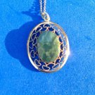 "VINTAGE WINNARD GOLD FILL 1"" X 7/8"" JADE PENDANT AND 18.5"" CHAIN NECKLACE"