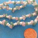 "LOVELY 17"" STRAND OF PINK & GREEN TUMBLED QUARTZ WITH REAL PEARLS @ 3/8"" WIDE"