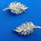 "VINTAGE PELL RHINESTONE FLOWING LEAF DESIGN CLIP ON EARRINGS 1 1/2"" X 3/4"". NICE"