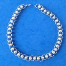 "LOVELY SILVER TONE CIRCLE & BALL LINK CHOKER NECKLACE 16 1/4"" X 1/2"""