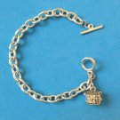 "SILVER LINK CHARM BRACELET W CHRISTIAN THEME BOX CHARM THAT OPENS! 7 3/4"" LONG"