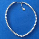 "CLASSY STRAND OF SILVER TONE SHINY & TEXTURED 1/4"" BEADS NECKLACE UP TO 18"" LONG SIGNED ""BB"""