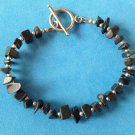 """PRETTY ARTIST MADE UNMARKED SILVER WITH TUMBLED ONYX BRACELET TOGGLE CLOSE 7.5"""""""