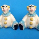 VINTAGE CIRCUS CLOWNS TWINS YELLOW & AQUA SALT & PEPPER SHAKERS MADE IN JAPAN
