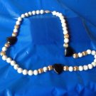 PRETTY GOLD FILL TEXTURED BEADS, ONYX HEARTS & GREY VEINED MARBLE BEADS NECKLACE