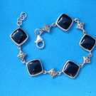 "STERLING SILVER ONYX AND MARCASITE LINK BRACELET 7 1/2"" LONG X 5/8"" WIDE"