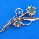 """VINTAGE VAN DELL GOLD OVER STERLING SILVER FLOWER PIN 2 5/8"""" X 1 1/2"""" VERY SWEET"""