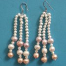 STERLING SILVER & DANGLING PINK SOFT GOLD & WHITE NATURAL PEARL EARRINGS