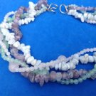 4 STRAND SEMI PRECIOUS STONE NECKLACE PALE GREEN & ROSE QUARTZ, AMETHYST & ? 18""