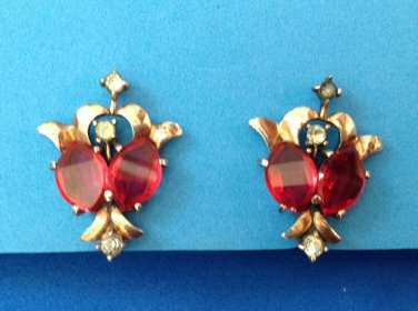 """ELEGANT ANTIQUE VINTAGE STERLING SILVER RED & CLEAR STONE CLIP ON EARRINGS 1 1/4"""" x 7/8"""""""