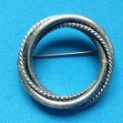 "VINTAGE DANECRAFT STERLING SILVER DOUBLE CIRCLE PIN 14g HEAVY! 1 5/8"" DIAMETER"