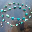 "STERLING SILVER & POLISHED TURQUOISE STONES STRAND NECKLACE MARKED ""925"""