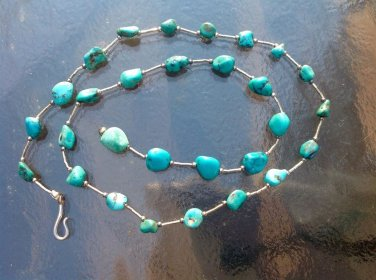 """STERLING SILVER & POLISHED TURQUOISE STONES STRAND NECKLACE MARKED """"925"""""""