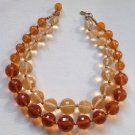 CORO STUNNING LARGE LIGHT & DARK TOPAZ COLORED FACETED BEADED CHOKER EYE CATCHER