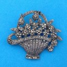 "BEAUTIFUL VINTAGE STERLING SILVER MARCASITE FLOWER BASKET PIN 2"" X 3/4"""