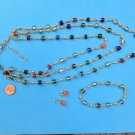 COLORFUL 3 PIECE BEADED SET BRACELET PIERCED EARRINGS 3 STRAND NECKLACE - PRETTY