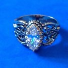 FANCY GOLD TONE CLEAR STONE CIGAR BAND STYLE RING SIZE 8.75 - BEAUTIFUL !!