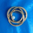 "VINTAGE WINNARD GOLD FILLED PIN WITH WHITE PEARL @ 1 3/8"" IN DIAMETER - LOVELY !"