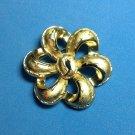 "CROWN TRIFARI FANCY BOW PIN IN SHINY & TEXTURED GOLD TONE @ 2"" IN DIAMETER"