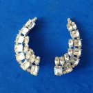 "FANTASTIC CLIP ON RHINESTONE EARRINGS BIG & BEAUTIFUL !  2 1/8"" X 1"" SPARKLY !!!"