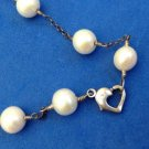 "OVER 30""LONG STERLING SILVER WHITE GENUINE PEARL NECKLACE - HEART CLASP ""PG"""