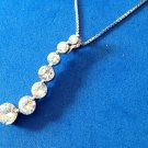 "ABSOLUTE BRAND 17.5"" STERLING SILVER CHAIN & PENDANT WITH 7 GRADUATED CZ STONES"