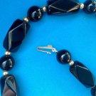 ELEGANT 14K GOLD & ONYX BEADED STRAND CHOKER NECKLACE - BEAUTIFUL PIECE