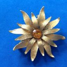 "VINTAGE TEXTURED GOLD TONE WITH GOLDEN RHINESTONE CENTER FLOWER PIN 2"" DIAMETER"