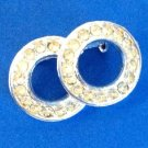 "VINTAGE RHINESTONE PIN OVERLAPPING CIRCLES  1 1/4"" X 3/4"""