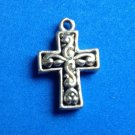 "PRETTY UNMARKED SILVER FANCY 3D CROSS CRUCIFIX PENDANT  1"" X 5/8"""