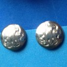 "VINTAGE ""ALICE"" SILVER TONE SCREW ON EARRINGS 5/8"" IN DIAMETER"