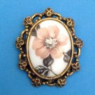 "LARGE CAMEO DUSTY PINK FLOWER IN GOLD TONE SETTING PIN 2 1/4"" X 2"""