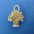 "PRETTY LITTLE SILVER TONE & MARCASITE FLOWER BASKET LAPEL PIN  1"" X 3/4"" ""AVON"""