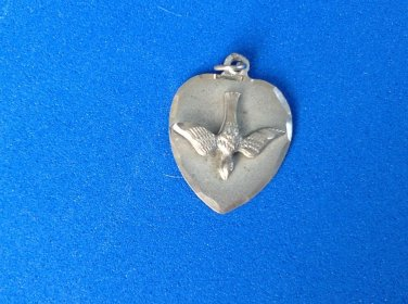 "LOVELY SILVER DOVE IN HEART PENDANT SIGNED ON BACK @ 3/4"" x 3/4"""