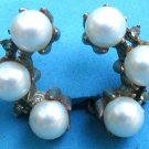 "VINTAGE ""C"" SHAPED COSTUME PEARL & CLEAR STONES CLIP ON EARRINGS"