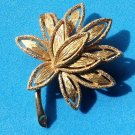 "GOLD TONE WATER LILY TEXTURED PIN BY ""AVON"" 2"" X 1 1/2"""