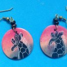 "ARTIST MADE ENGRAVED GIRAFFE ON 1 1/8"" COLORFUL DISK HANGING PIERCED EARRINGS"