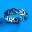 "SILVER PLATED INTERTWINING UNI SEX BAND RING SIZE 10 1/2, 1/2"" WIDE"