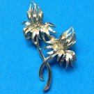"VINTAGE LOVELY LARGE SHINY GOLD TONE DOUBLE FLOWER PIN 3"" X 1 7/8"""