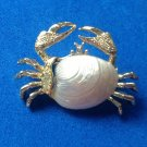 "VINTAGE GOLD TONE SHELL CRAB PIN 1 1/2"" x 1"" - CUTE LITTLE PIECE !"