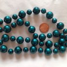 "PRETTY IRIDESCENT TEAL BLUE GREEN PLASTIC BEADED NECKLACE 24"" LONG X 1/2"" DIAM."