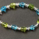 "PRETTY FACETED BLUE GREEN CLEAR & SILVER TONE BEAD BRACELET 9"" X 3/8"" DIAMETER"